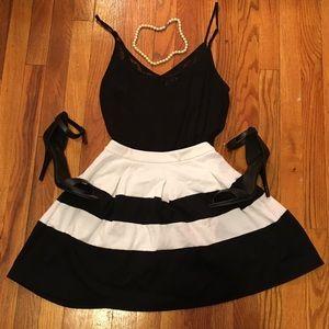 Express Black and White Circle Skirt